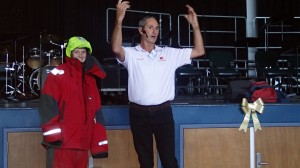 Ivan MacFadyen teaches a student of Hunter Valley Grammer School about Sea Survival